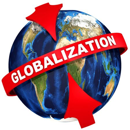 Red arrows emphasize the white text GLOBALIZATION on the globe background. Isolated. 3D Illustration Stok Fotoğraf