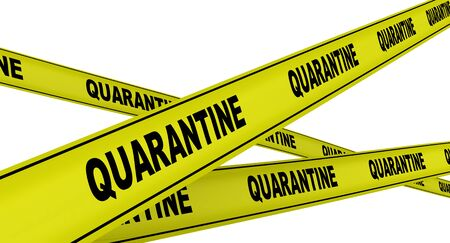 Yellow warning tapes with black words QUARANTINE. Isolated. 3D Illustration