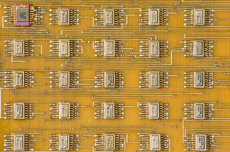 Old soviet electronic components (chips) on electronic board Imagens