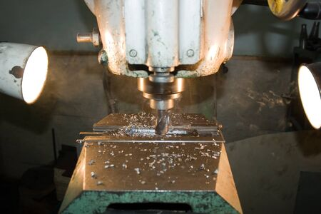 Milling a metal part Zdjęcie Seryjne