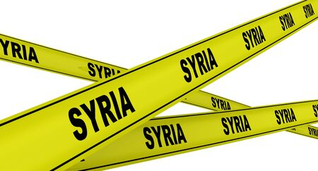 Syria. Labeled yellow warning tapes