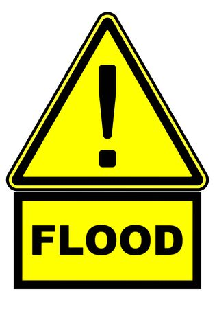 One yellow warning sign with black exclamation mark and the word FLOOD. Close-up view. Isolated. 3D Illustration
