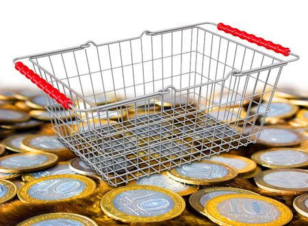 Purchase costs. Empty shopping basket on the surface with Russian coins. 3D illustration