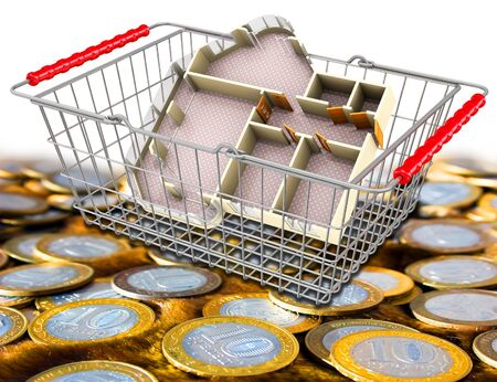 A shopping basket with an apartment layout lies on the surface with Russian coins. 3D illustration