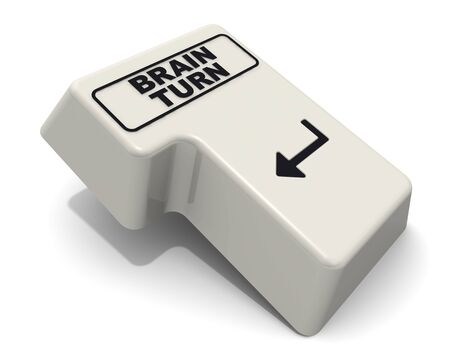 The computer Enter key labeled BRAIN TURN text on the white background. 3D Illustration Reklamní fotografie