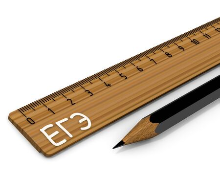 Wooden ruler labeled EGE (Unified State Exam in Russia) and black pencil on white surface. Isolated. 3D illustration