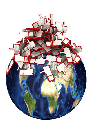 The globe bombarded with reviews. Globe and a bunch of reviews symbols (hand gestures thumbs-up (like) and thumbs-down (dislike)). Isolated. 3D illustration Archivio Fotografico