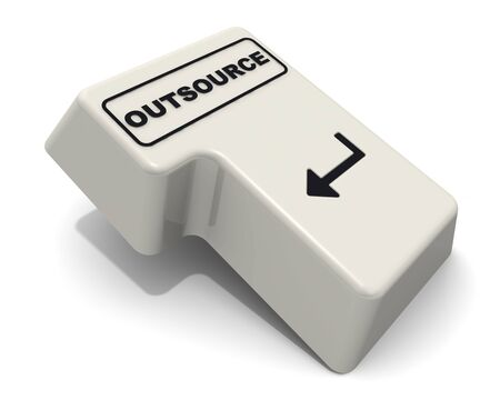Computer Enter key of keyboard with black word OUTSOURCE isolated on white background. 3D illustration