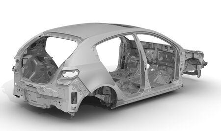 Car body. Bodywork of car. The unpainted car body lies on a white surface. 3D illustration Reklamní fotografie
