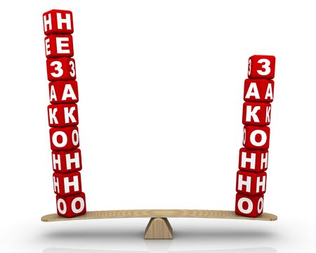 The Russian words ILLEGAL and LEGAL, made from red cubes, are weighed in the balance. The scales in the equilibrium position. 3D illustration