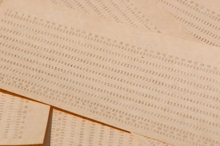 Background from computer punched cards. A lot of punched cards for old computers Standard-Bild