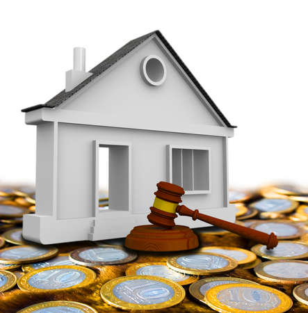 Judicial practice in real estate. Judge's hammer and the apartment house on surface of Russian coins. Litigation of real estate. Isolated. 3D Illustration