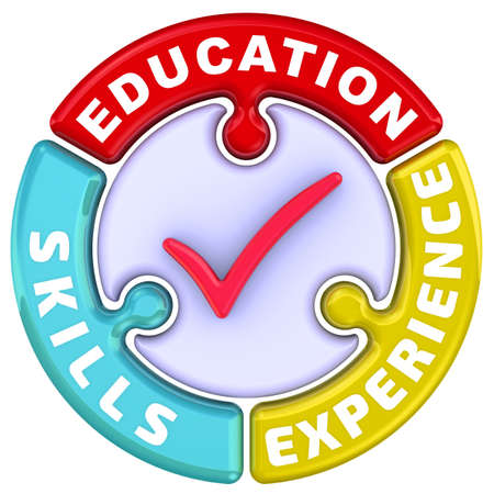 Education, skills, experience. The check mark in the form of a puzzle. The words EDUCATION, SKILLS, EXPERIENCE in the shape of a round puzzle with red check mark. 3D Illustration