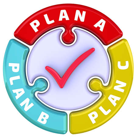Plan A, plan B, plan C. The check mark in the form of a puzzle. The words PLAN A, PLAN B, PLAN C in the shape of a round puzzle with red check mark. 3D Illustration