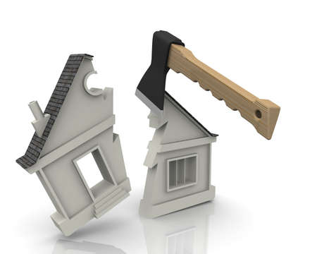 Division of the property. The concept. The house symbol is split with an ax. The concept of the division of property. 3D Illustration