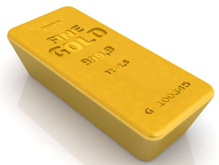 The highest standard gold bar. One ingot of 999.9 Fine Gold, weighing 1202.5 grams. 3D illustration Stock Photo