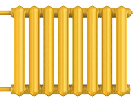 Golden heating radiator. Section of golden heating radiators isolated on white background. 3D illustration
