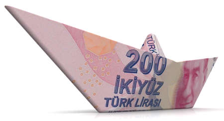 Paper boat from Turkey's banknote. Paper boat made from banknote of Turkish Lira on white surface. 3D illustration Фото со стока