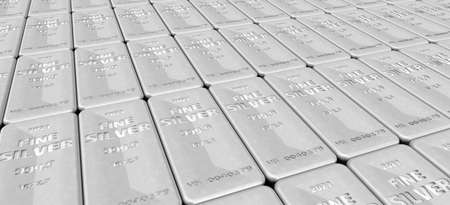 The highest standard silver bars. Lots of ingots of 999.9 Fine Silver lie in a row. 3D illustration Stock Photo