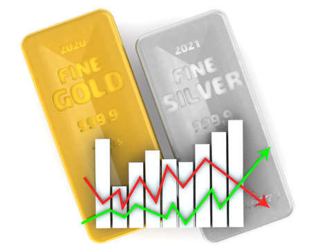 Changes in the value of precious metals. Two ingots of 999.9 Fine Gold and Fine Silver with graph on white surface. 3D illustration