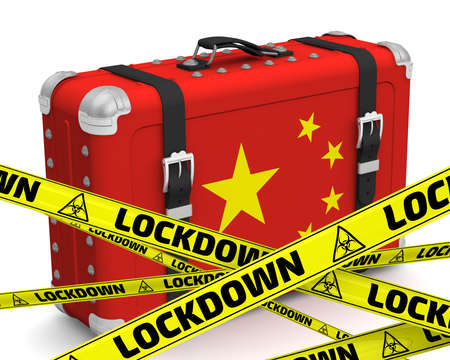 China is in lockdown. Retro suitcase with the flag of the People's Republic of China on a white surface with yellow warning tapes that say LOCKDOWN. 3D illustration
