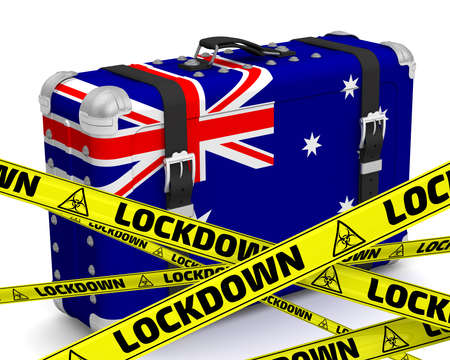 Australia is in lockdown. Retro suitcase with the flag of the Commonwealth of Australia on a white surface with yellow warning tapes that say LOCKDOWN. 3D illustration