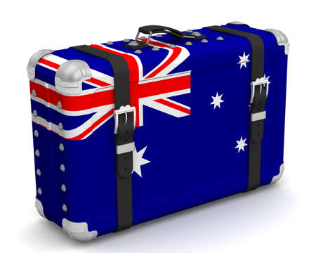 Stylish suitcase with the national Flag of Australia. Retro suitcase with the national Flag of the Commonwealth of Australia stands on a white surface. 3D illustration