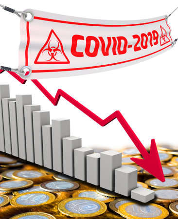 Falling income amid the COVID-19 pandemic. Chart of falling with red arrow on the surface of Russian coins and banner with red text COVID-19. 3D illustration