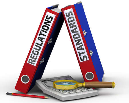 Regulations and standards. Two binders with the words REGULATIONS and STANDARDS, an electronic calculator, a magnifying glass and a pencil on a white surface. 3D illustration Archivio Fotografico