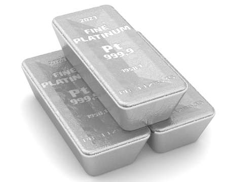 The highest standard platinum ingots. Three ingots of 999.9 Fine Platinum lie on white surface. 3D illustration