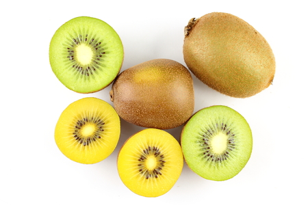 composition of fresh green and yellow kiwi fruits Imagens