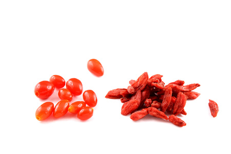 barbarum: composition of fresh and dried goji berries isolated on a white background Stock Photo