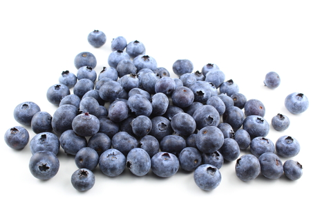 composition of fresh blueberry fruits isolated on a white background