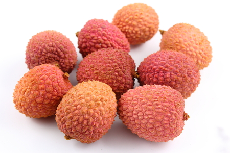 composition of lychee fruits isolated on a white background