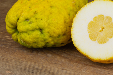 fresh citron fruits closeup on a wooden board with copy space 版權商用圖片