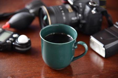 Coffee and camera equipment