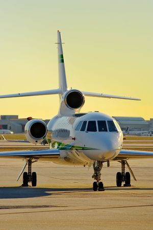 corporate jet: Photo of a parked corporate jet.