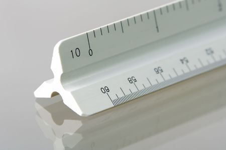 Closeup of the end of an engineering scale with a shallow depth of field. Stock fotó