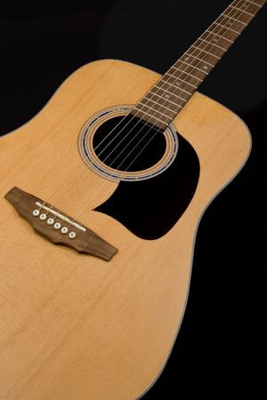 Photo of an acoustic guitar against a black background