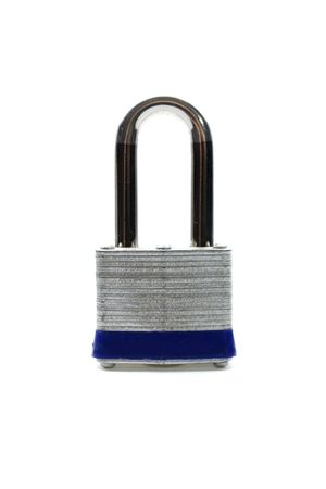 locked: A locked padlock against a white background