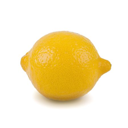 Lemon against a white background with shadows.