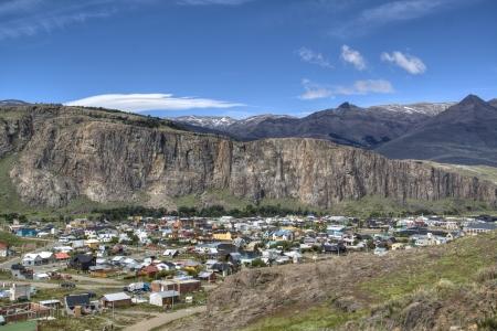 chalten: View over the town of El Chalten, Argentina Stock Photo