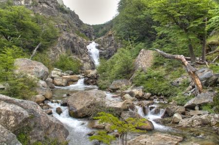 chalten: Waterfall near the town of El Chalten, Argentina Stock Photo