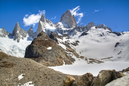 chalten: View over the Fitz Roy mountain in El Chalten, Argentina Stock Photo