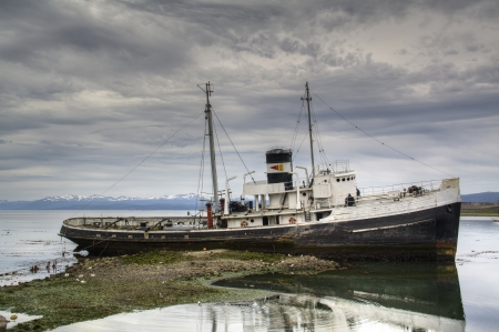 Old ship in the harbor of Ushuaia, Argentina