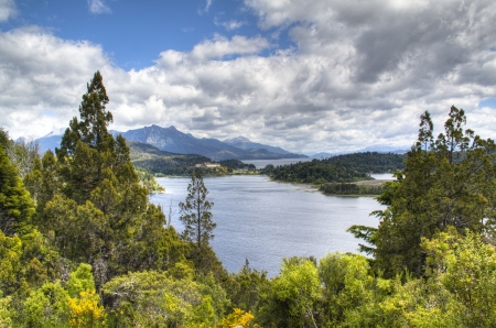 View over the lakes on Circuito Chico near Bariloche, Argentina photo