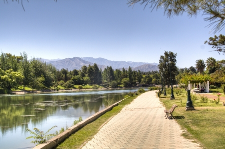 Walking path near the lake of Mendoza, Argentina
