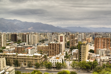 chile: View over the city of Santiago in Chile Stock Photo
