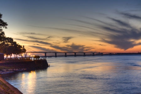 corrientes: Sunset over the river in Corrientes, Argentina