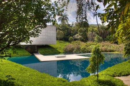 Pond in the garden in Inhotim, Brazil